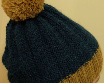 Alpaca men women's hand knitted blue and ochre Bobble Hat