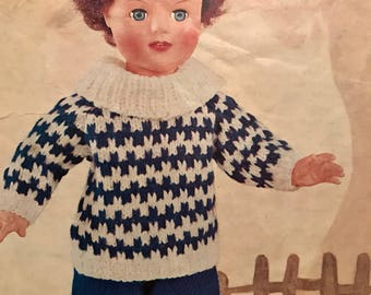 Vintage Lee Target knitting pattern for dolls clothing winter outfit 6311