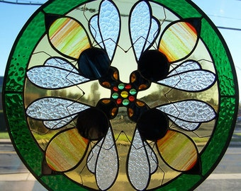 4 Bees in stained glass circle