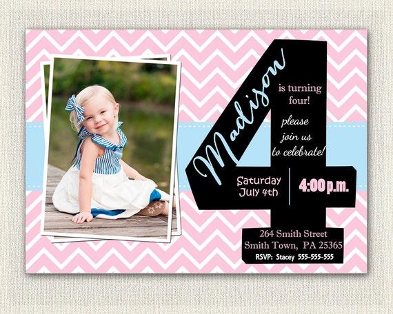 Items similar to Girls 4th Birthday Invitations Printable Fourth