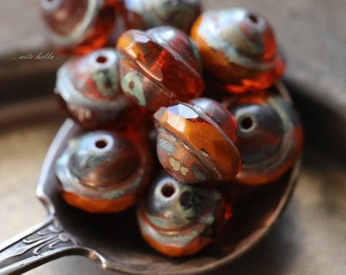 ORANGE BLISS No. 1 .. 10 Premium Picasso Czech Glass Saturn Beads 8x10mm (4878-10)