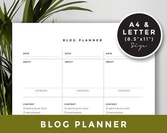 A4 & Letter size / Blog Planner, Printable planner, Blog Organizer, Blogging Planner, Blog post planner - INSTANT DOWNLOAD