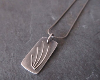Sterling silver oxidised textured rectangular pendant necklace