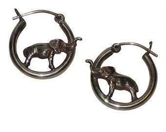 Elephant 3D Sterling Silver Vintage Hoop Earrings
