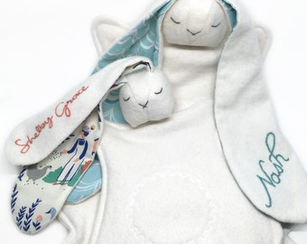 Organic: Personalized custom baby loveys - fleece - baby loveys - plush organic cotton; custom baby toy; organic baby lovey; organic bunny