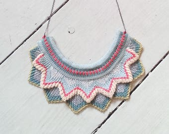 Knitted Chevron Necklace - Pastel