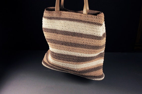 Woven Crochet Tote Bag, Liz Claiborne, Striped, Brown, Tan, and White, Small Tote, Designer Bag