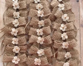 Burlap Small Bows / Burlap Flower Decorative Bows / Rustic Small Burlap Bows / Set of 24 Bows / Vintage Flower and Burlap Decor Bows