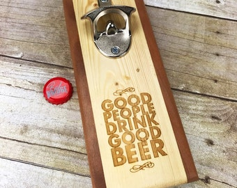 Hand Made Fridge Mounted Bottle Opener with Magnetic cap catcher