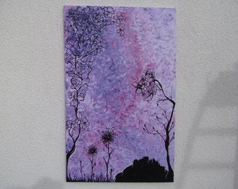 Original MisQue art   Abstract acrylic painting flowers #B100064