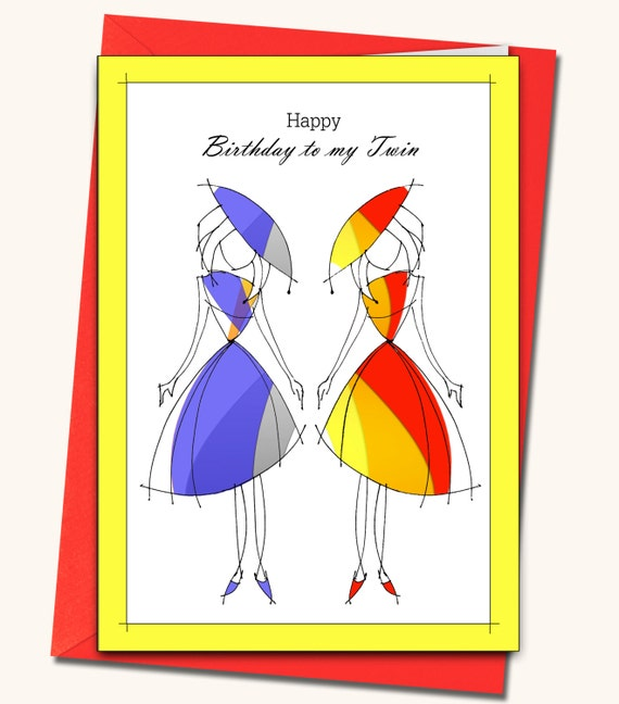 Greeting Card Happy Birthday To My Twin Personalised Cards