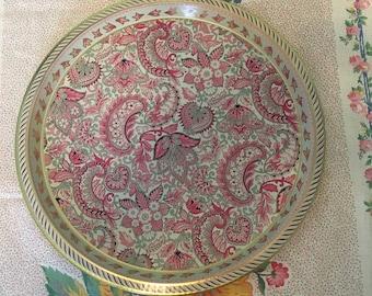 Vintage tin tray paisley pinks golds round England
