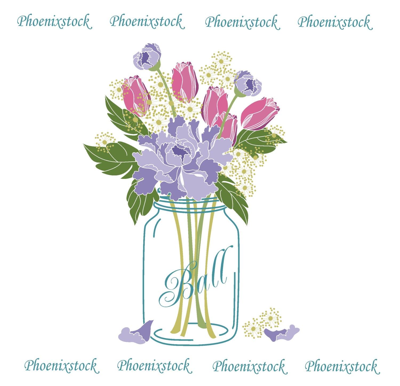 Flowers In Jars Wedding: Wedding Clip Art/ Mason Jar Bouquet / Digital Clip Art/Flower