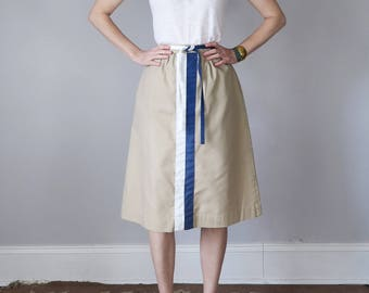 70s skirt tan high waist striped tie belt (s - m)
