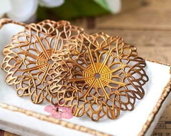 Vintage Brass Filigree Aged Raw Brass Floral Motif Lacy Filigree Necklace Centerpiece Pendant Stamping with Patina 44mm