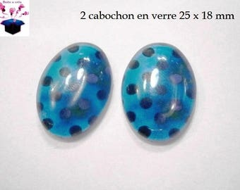 2 cabochons glass 25mm x 18mm turquoise polka dots theme
