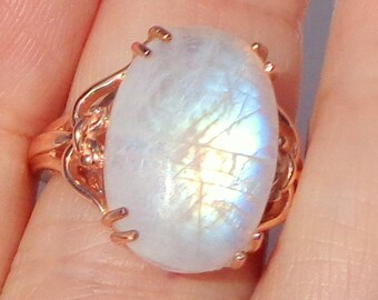 SALE, Sz 7, 10K Rose Gold Ring, Blue Flash, Rainbow Moonstone, Natural Gemstone, Engagement, Promise, June Birthstone,Mother's Day Gift,OOAK