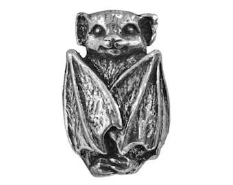 Green Girl Bat 3/4 inch ( 18 mm ) Pewter Bead