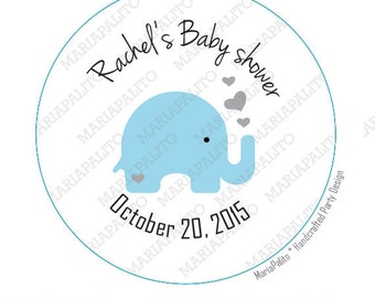 Baby Shower Stickers, Baby Elephant , Personalized Baby Shower PRINTED round Stickers, tags, Labels or Envelope Seals, Baby Boy Shower A1201