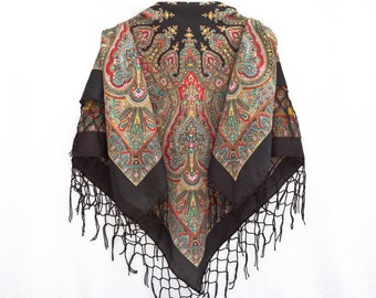 Black Russian Shawl, Chale Russe, Boho Floral Shawl, Black Shawl, Bohemian Scarf, Mother Day Gift, Babushka Shawl, Square Scarf (065)