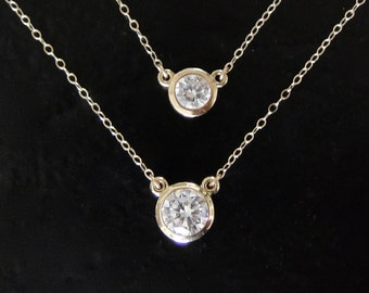 Diamond CZ Solitaire Necklace, 14K Yellow, Rose, or White Gold, 1 Carat or 1/2 Carat CZ  Solitaire Necklace -  As Seen On Kelly Ripa
