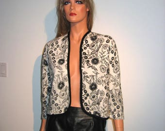 Vintage 70's BOLERO style sweater. Black and White Floral pattern.
