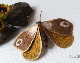 Butterfly art brooch, textile art, textile jewellery, soft sculpture, fibre arts, moth brooch, handmade accessories, gift for her