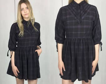Vintage 1950s Black Plaid Mini Dress