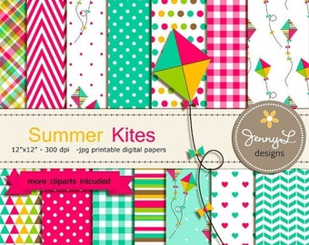 50% OFF Kite Digital papers and Clipart, Summer Kite, Baby Shower, Birthday Scrapbooking Paper Party Theme,