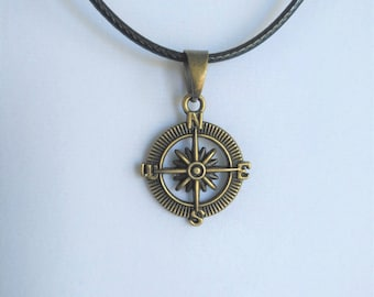 Antique Bronze Compass  Necklace Leather Cord Chain Jewelry