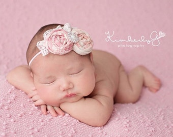 Bailey- vintage pink double rosettes and lace headband