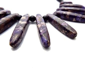 Jasper Necklace Sea sediment multicolored Purple with beads of black agate