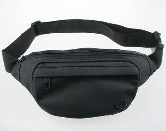 Black Fanny Pack - durable, built-in wallet for cards and money, water resistant, perfect waist pack for travel