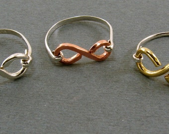 Mixed Metal Infinity Rings - Your Choice - Sterling, Copper and Red Brass - Any Size