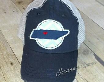 Tennessee Nashville State Distressed Trucker Hat