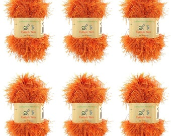 BambooMN Brand - Eyelash Yarn - 50g - 6 Skeins - Color 35 - Burnt Orange