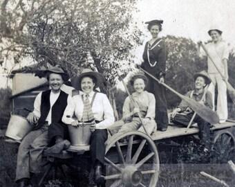vintage photo 1911 WOmen Cross Dress Paddle Oars on Hay Wagon w Pails