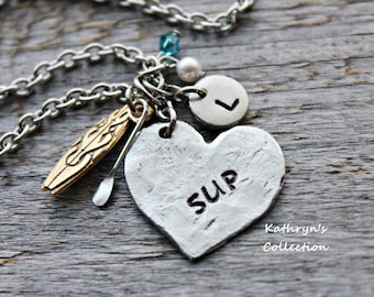 Paddle Board Necklace, SUP Necklace, Paddle Board Jewelry, SUP, Paddle Sports, Stand Up Paddle Board, SUP