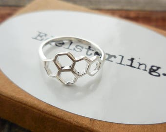 925 Sterling Silver Beehive Ring, Beehive Ring, Bee Hive, Honeycomb Ring, Geometric Ring, Abstract Ring, Hexagon Beehive Ring, Hexagon