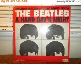 Vintage 1964 LP Record The Beatles A Hard Days Night United Artists Mono Version Very Good Condition 12927