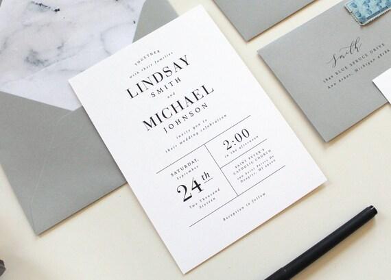Modern Wording For Wedding Invitations: Modern Wedding Invitations Modern Marble Wedding Invitation