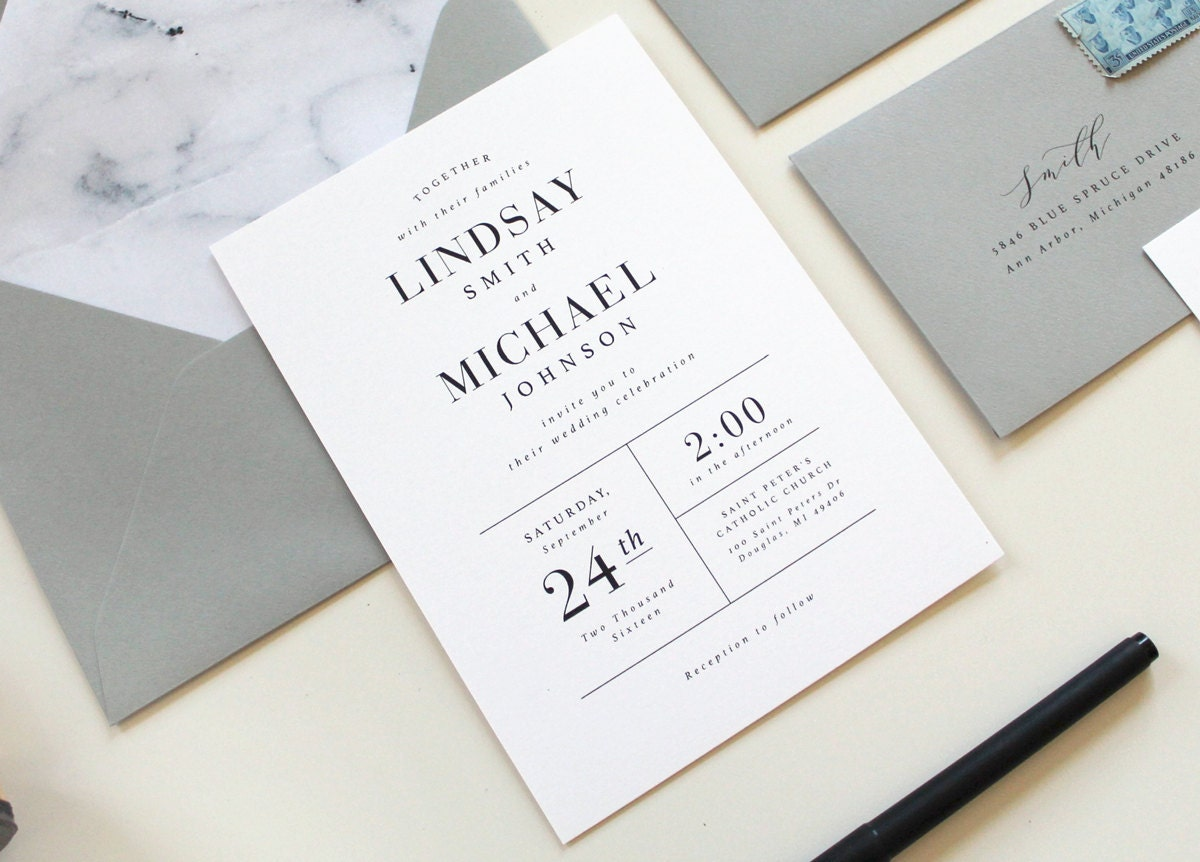 Modern Wedding Invitations Marble Wedding Invitation Simple