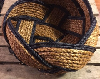 """Rope Basket Bowl 12"""" x 8"""" Natural and Navy Rope Woven Tightly Knotted Nautical Decor"""
