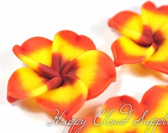 Large Yellow, Orange, and Burgundy Polymer Clay Plumeria Frangipani Flowers... 4pcs