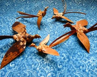 Bird ornament, Woven bird, Birch bark ornament, Eco- friendly  ornament, Rustic ornament, Keepsake bird