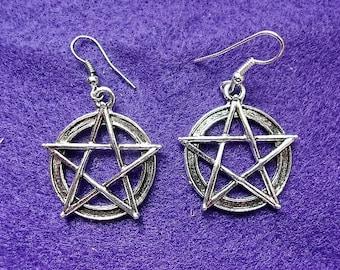 Embossed Pentacle Earrings