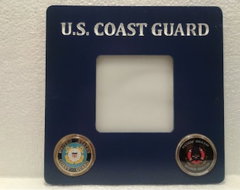 U S COAST GUARD Photo Frame with mounted Challenge Coins