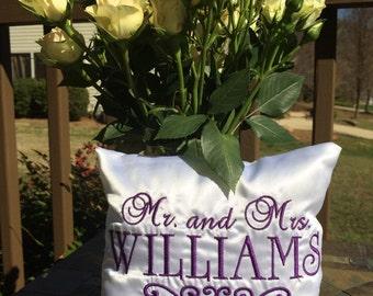 White Satin Wedding Ring Bearer Pillow
