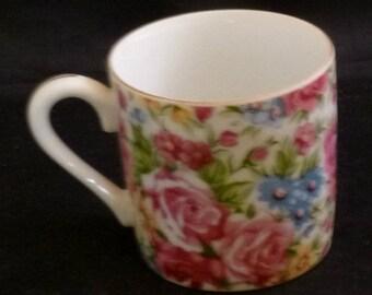 Vintage Norcrest All Over Floral Demitasse Espresso Cup, 1960s