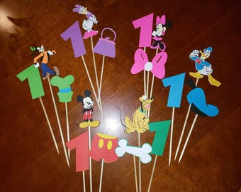 18 Mickey Mouse Centerpiece Toppers or Cupcake Toppers